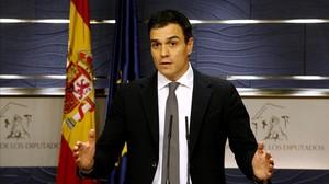 El líder del PSOE, Pedro Sánchez, durante la rueda de prensa que ofreció el pasado miércoles en el Congreso.
