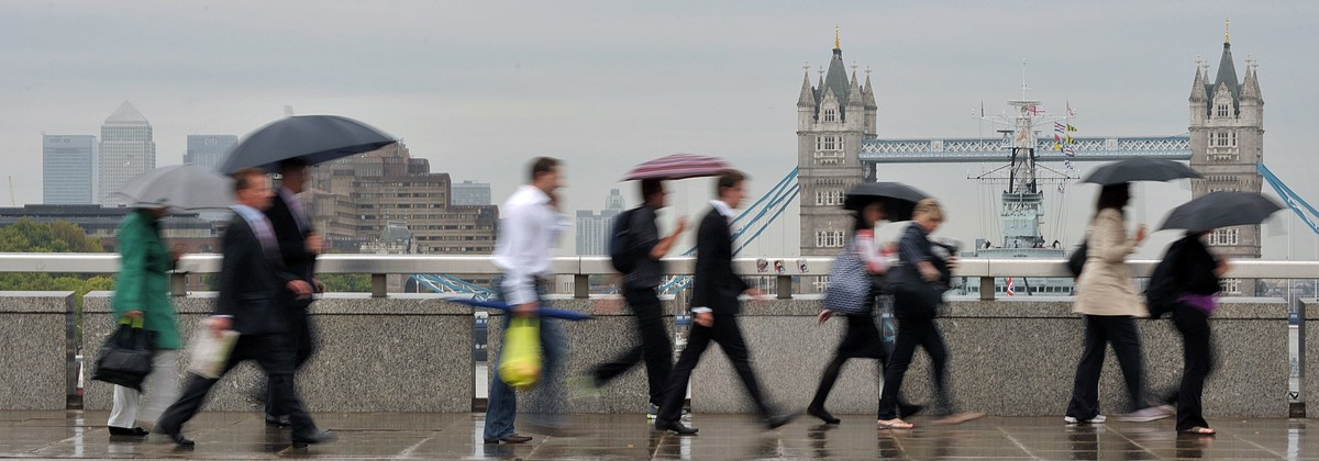 Empleados en la City de Londres.
