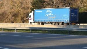 Un camión con las ruedas pinchadas en la AP-7, entre Cardedeu y la Roca del Vallès, dirección sur.