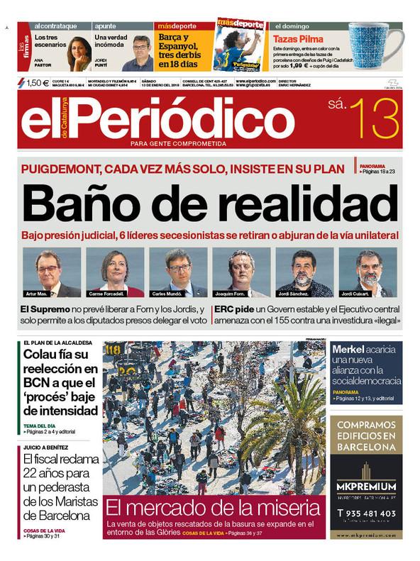 La portada de EL PERIÓDICO del 13 de enero del 2018