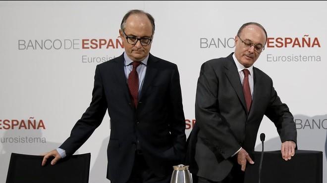 El gobernador del Banco de Espa�a, Luis Mar�aLinde (a la derecha de la imagen) y el subgoberndor, Fernando Restoy(a la izquieda).