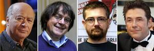 De izquierda a derecha, los dibujantes de Charlie Hebdo Georges Wolinski, Jean Cabut (alias Cabu), el director Stéphane Charbonnier (alias Charb) y Bernard Verlhac (alias Tignous).