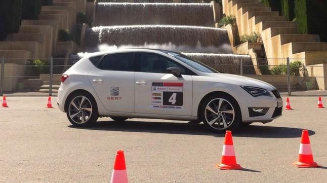 Seal León utilizado para uno de los ejercicios de conducción segura en el Salón del Automóvil de Barcelona.