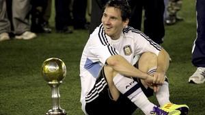Messi, durante un partido amistoso.