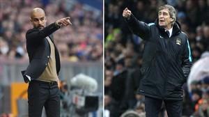 Guardiola y Pellegrini, futuro y presente del Manchester City.