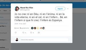 Tuit del profesor de Tremp Manel Riu, citado a declarar en enero por sus críticas a las fuerzas policiales tras el 1-O.