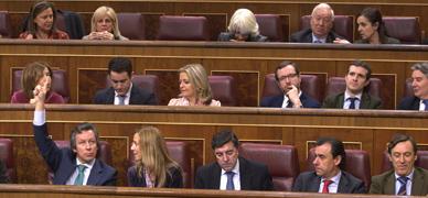 Diputados del PP en el hemiciclo, esta mañana.