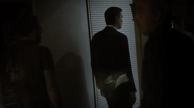 Pedro S�nchez, este viernes por la noche, en la sede del PSOE.