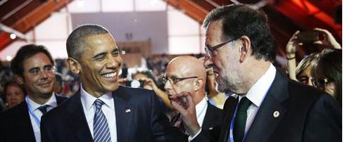 Rajoy y Obama, en la cumbre de Par�s.