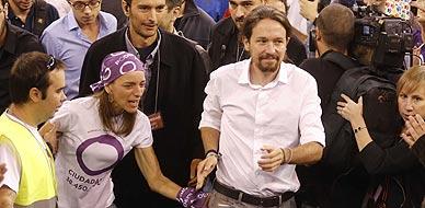 Pablo Iglesias, durante la asamblea ciudadana de Podemos en Vistalegre.