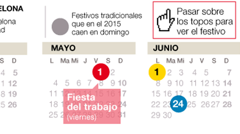 El calendario laboral en Catalunya 2015