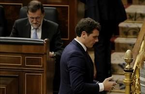 Mariano Rajoy y Albert Rivera, en la sesión constitutiva de la nueva legislatura, en el Congreso.