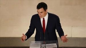 Pedro Sánchez, el pasado miércoles en el Congreso, tras la firma de su pacto con Ciudadanos.