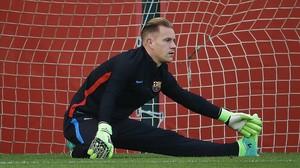 Ter Stegen, portero del Barça, en un entrenamiento.