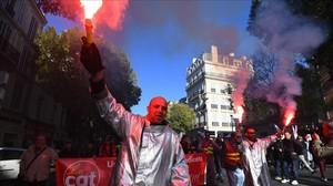 Manifestación contra la reforma laboral de Macron, en Marsella.