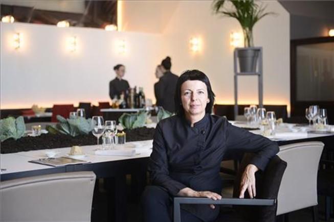 Fina Puigdevall, en el comedor de Òleum, en el MNAC. Foto: Ida Jansson