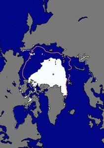 Extensión ocupada por el hielo en la banquisa boreal el pasado sábado y en la media del periodo 1979-2000 para la misma fecha.