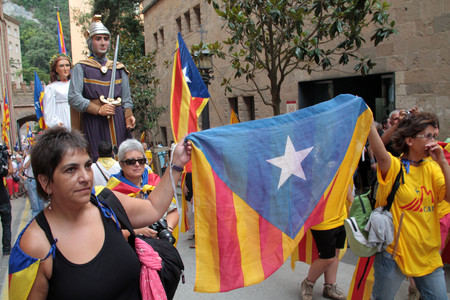 Manifestacin de la Assemblea Nacional de Catalunya en Montserrat, el pasado junio. 