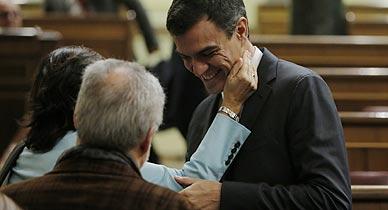 Pedro S�nchez, durante la sesi�n del Congreso.