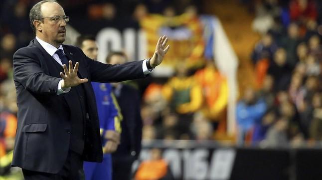Benítez, en el partido de este pasado domingo en Mestalla.