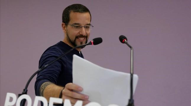 Sergio Pascual, tras la rueda de prensa de la ejectutiva de Podemos, en Madrid.