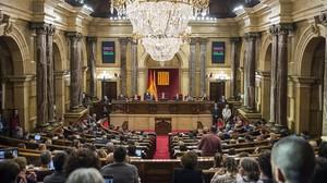 Imagen del hemiciclo del Parlament.