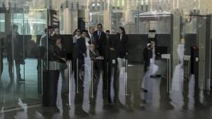 Fèlix Millet y otros acusados en el juicio por el expolio del Palau de la Música, en la Ciutat de la Justícia de Barcelona
