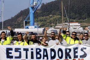 Protesta de estibadores en el puerto de El Ferrol.