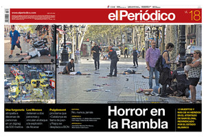 La portada de EL PERIÓDICO del 18 de agosto del 2017.