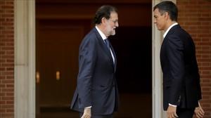 Mariano Rajoy y Pedro Sánchez, el pasado 7 de septiembre, en la Moncloa.