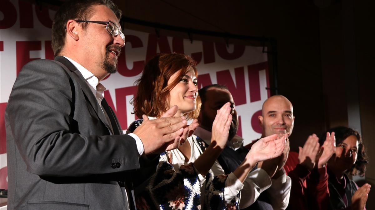 Xavier Domènech, junto a Elisenda Alamany, en el mitin de Catalunya en Comú de este miércoles, en Sabadell.