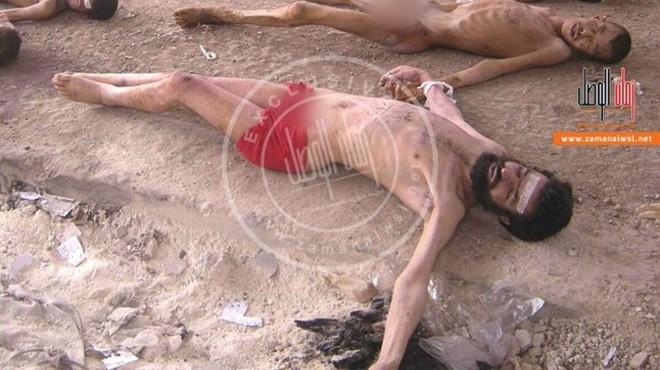 El cad�ver de un sirio v�ctima del hambre y la tortura en las prisiones del r�gimen.