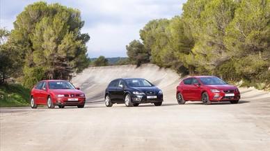Las tres generaciones del Seat León juntas