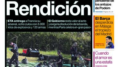 ETA se'n burla, titula 'Abc'; sense justícia no hi ha final, adverteix 'La Razón'