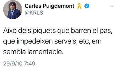"""Quan Puigdemont veia """"lamentables"""" els piquets en les vagues"""