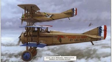 Viñeta de la serie 'El piloto del Edelweiss', de Romain Hugault y Yann.