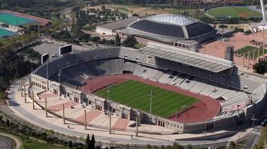 Vista aérea del Estadi Olimpic LLuis Companys y el Palau Sant Jordi.