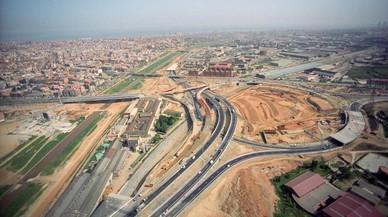 Vista aérea del Nus de la Trinitat en obras.