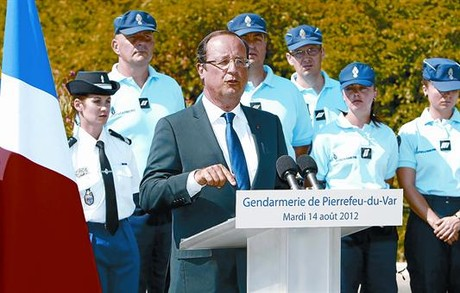 Franois Hollande, ayer, en un acto de la polica en Toulon, (sur de Francia).