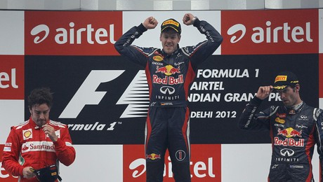 Vettel, Alonso y Webber, el podio del GP de la India.