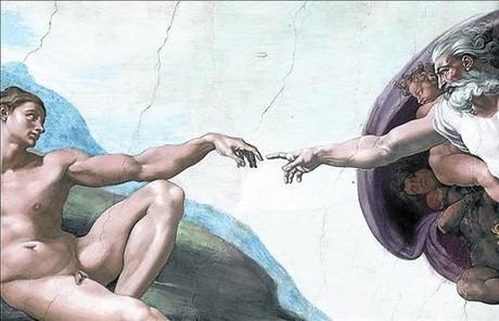 El detalle 8Vista del fresco 'La creaci�n de Ad�n' con la nueva luz.