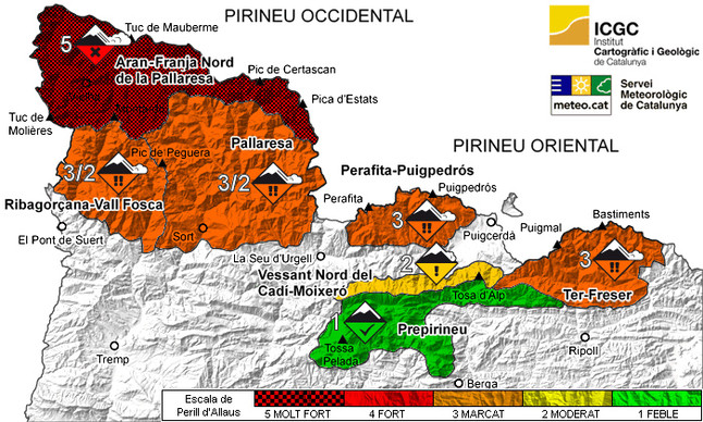Zonas del Pirineo de Catalunya en alerta por peligro de aludes.