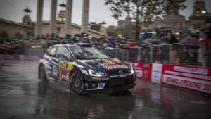 Sebastien Ogier en el tramo del RallyRACC en Montjuïc el pasado año.