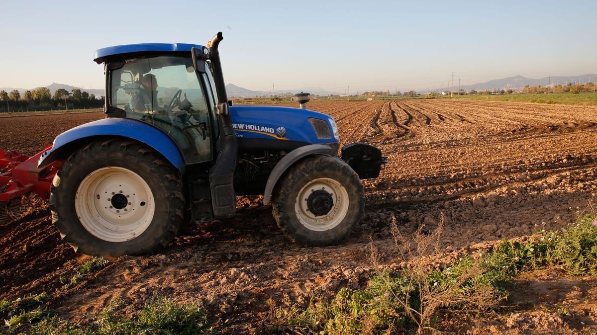 Un tractor, en una finca del Baix Llobregat.