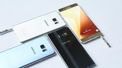 Cuatro versiones del m�vilSamsung Galaxy Note 7.