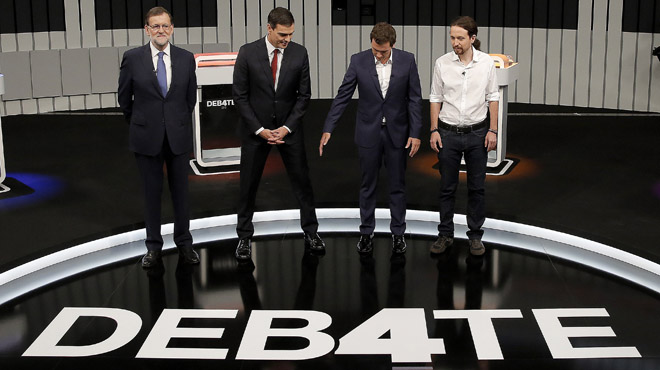 El debat a 4 entre Rajoy, Sánchez, Iglesias i Rivera, en directe 'on line'