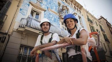 María López i Javier de Riba: «En una setmana no t'has acabat el mural»