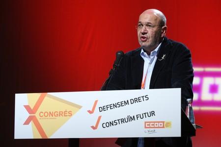 Joan Carles Gallego, este viernes, en el congreso de CCOO en Barcelona.