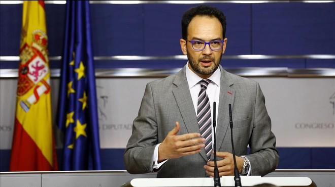 El portavoz parlamentario del PSOE, Antonio Hernando, el pasado mi�rcoles.
