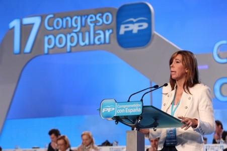 Sánchez-Camacho, durant la seva intervenció en el congrés que el PP celebra a Sevilla, avui.